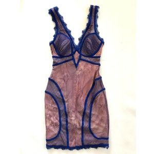 Bebe Blue Pink Lace Bustier Dress L